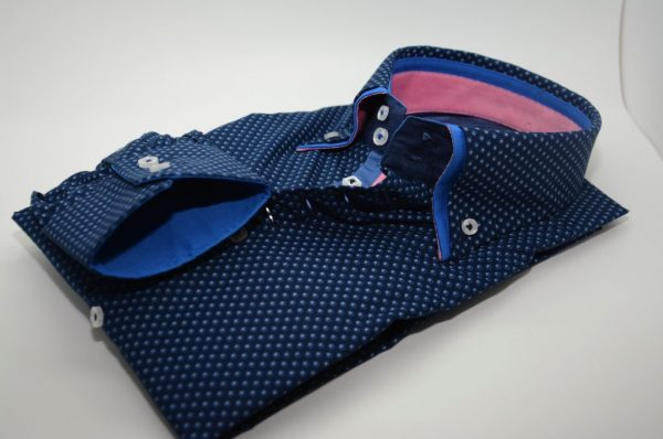 Men's black patterned shirt with blue double collar cuff