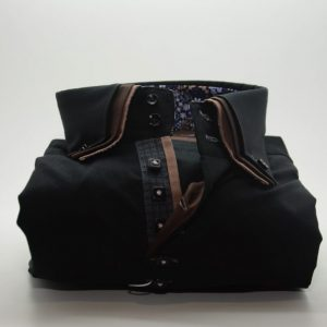 Men's black shirt with brown triple collar front