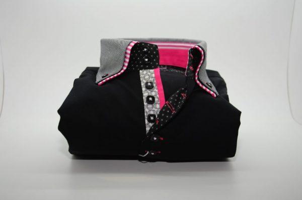 Men's black slim fit shirt grey double collar pink trim front