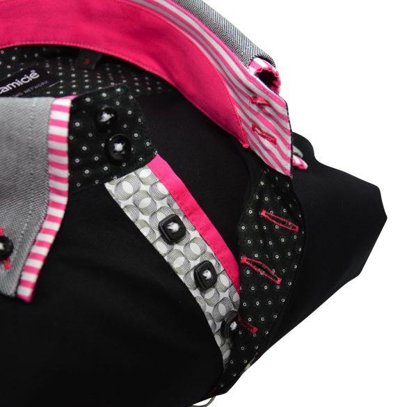 Men's black slim fit shirt grey double collar pink trim upclose