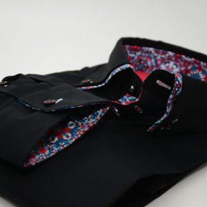 Men's black shirt multicolour double collar cuff