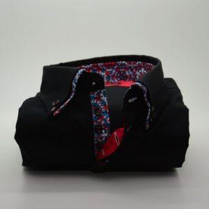 Men's black shirt multicolour double collar front