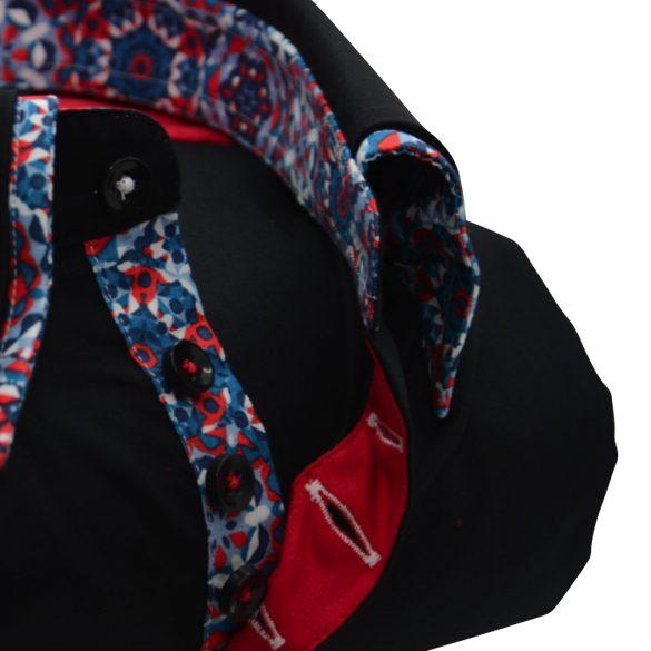 Men's black shirt multicolour double collar upclose