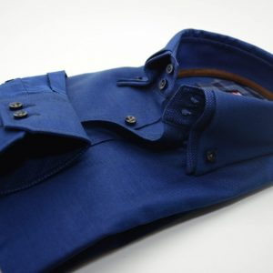 Men's blue Oxford cotton shirt with blue double collar cuff