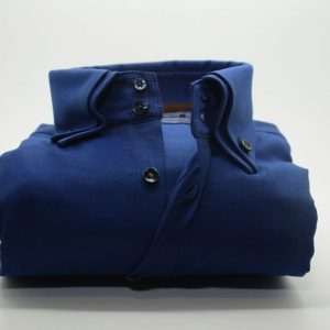 Men's blue Oxford cotton shirt with blue double collar front