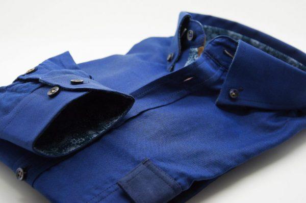 Men's blue Oxford cotton shirt with pocket detail cuff