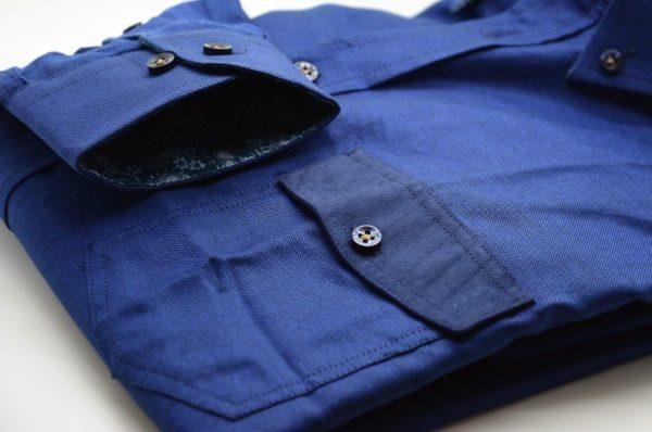 Men's blue Oxford cotton shirt with pocket detail pocket