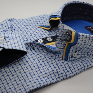 Men's blue patterned shirt with yellow triple collar cuff