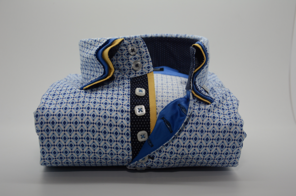 Men's blue patterned shirt with yellow triple collar front