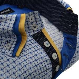 Men's blue patterned shirt with yellow triple collar upclose