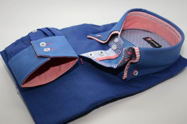 Men's blue shirt peach and white double collar flower trim cuff