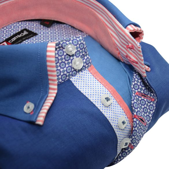 Men's blue shirt peach and white double collar flower trim upclose