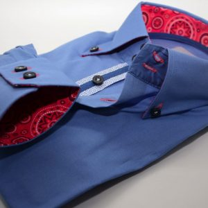Men's blue shirt red patterned trim cuff