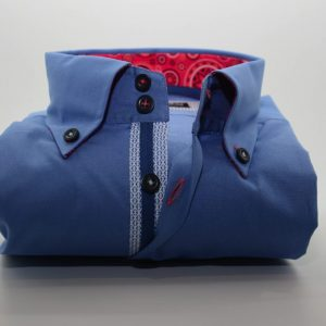 Men's blue shirt red patterned trim front
