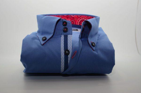 Men's blue shirt red patterned trim front