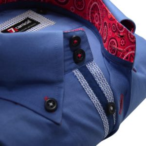 Men's blue shirt red patterned trim upclose