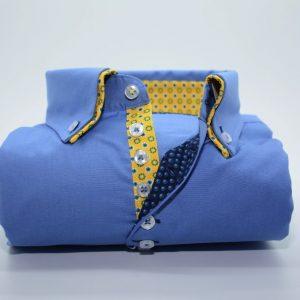 Men's blue shirt yellow flower double collar front