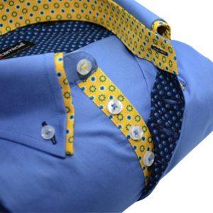 Men's blue shirt yellow flower double collar upclose