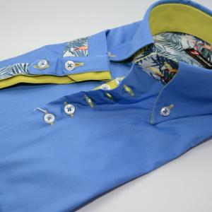 Men's blue short sleeve shirt yellow trim cuff
