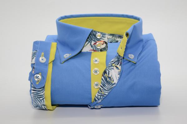 Men's blue short sleeve shirt yellow trim front