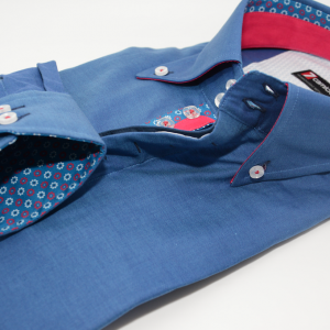 Men's blue shirt single collar red and blue flower trim cuff