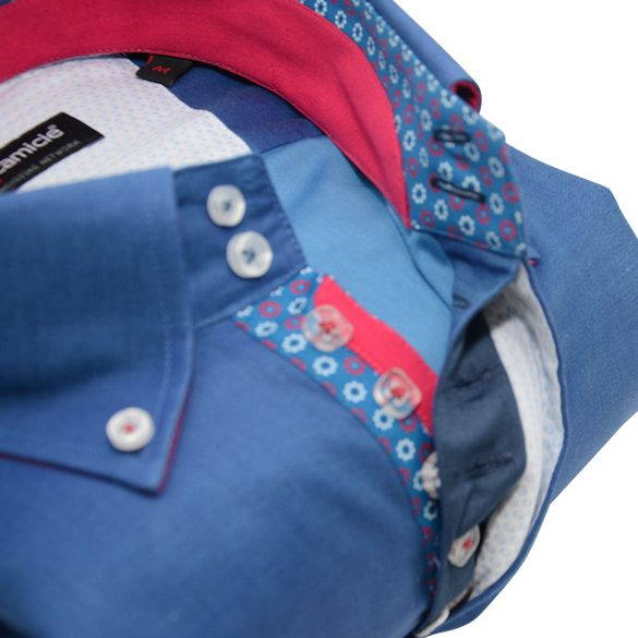 Men's blue shirt single collar red and blue flower trim upclose