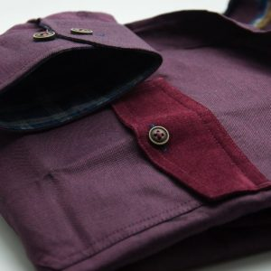 Men's burgundy single collar Oxford cotton shirt pocket