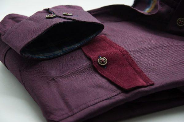 Men's burgundy single collar Oxford cotton shirt pocket