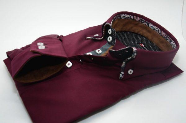 Men's burgundy shirt flower double collar cuff
