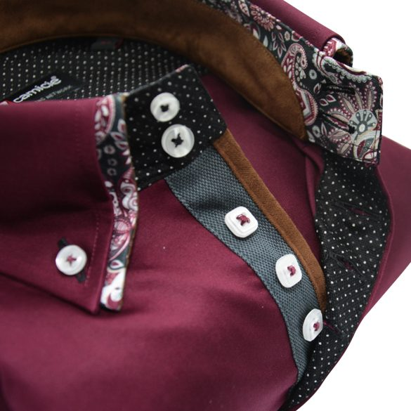 Men's burgundy shirt flower double collar upclose