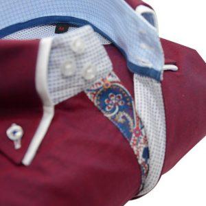 Men's burgundy shirt white double collar paisley trim upclose