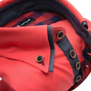 Men's coral slim fit shirt with denim blue double collar upclose