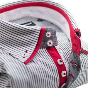 Men's dark navy and white stripe shirt with red double collar upclose
