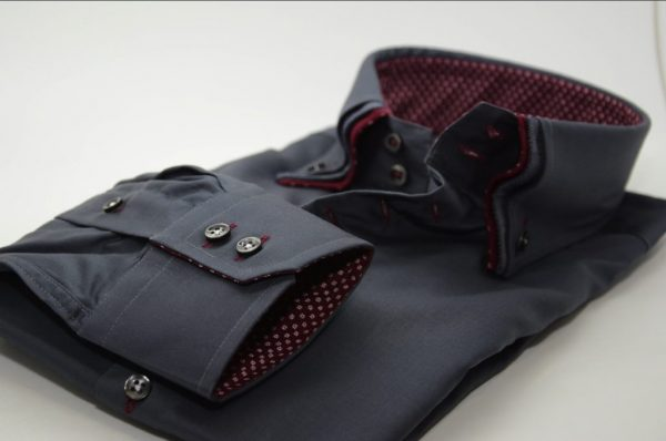 Men's dark grey shirt with burgundy triple collar cuff
