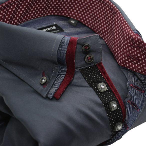Men's dark grey shirt with burgundy triple collar upclose