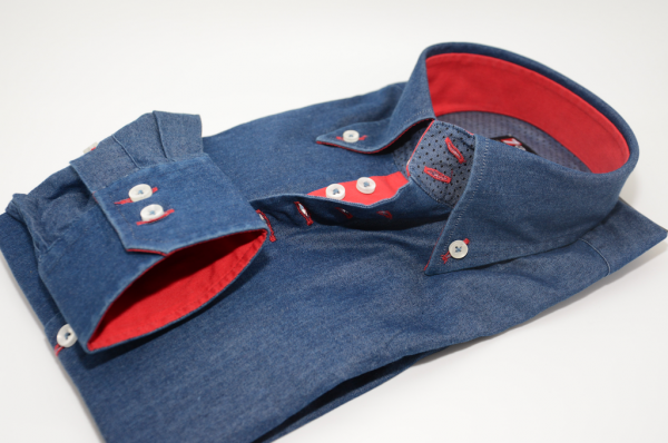 Men's denim blue style shirt with single collar and red trim cuff