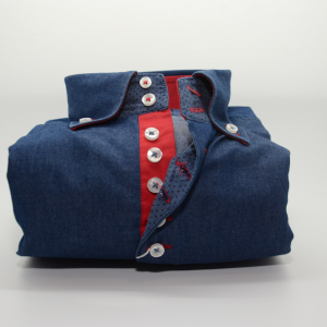 Men's denim blue style shirt with single collar and red trim front