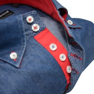Men's denim blue style shirt with single collar and red trim upclose