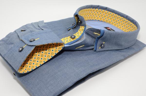 Men's blue/grey spotty shirt blue double collar yellow trim cuff