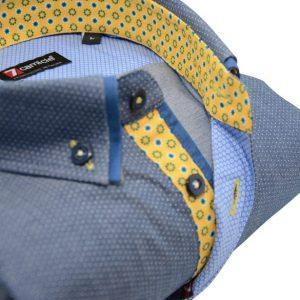Men's blue/grey spotty shirt blue double collar yellow trim upclose