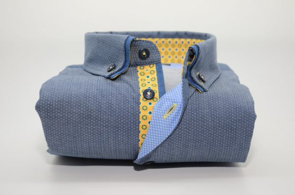 Men's blue/grey spotty shirt blue double collar yellow trim front
