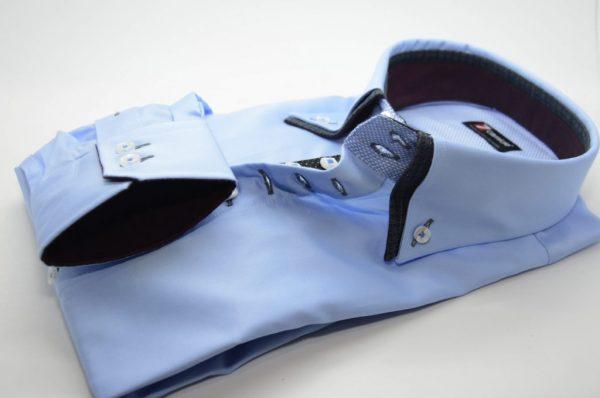 Men's light blue shirt navy double collar and burgundy trim cuff