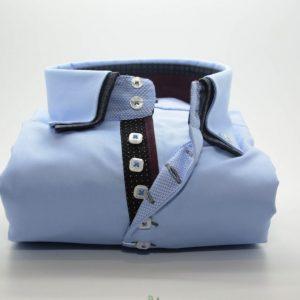 Men's light blue shirt navy double collar and burgundy trim front