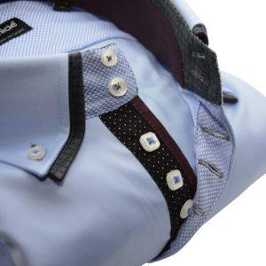 Men's light blue shirt navy double collar and burgundy trim upclose