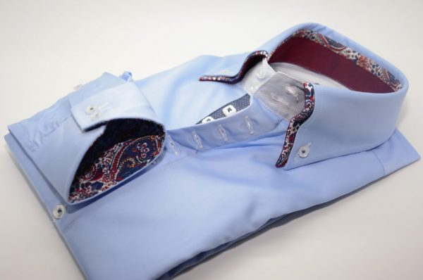 Men's light blue shirt with burgundy paisley double collar cuff
