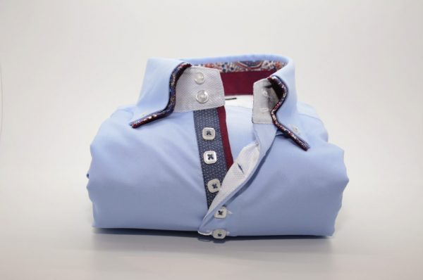 Men's light blue shirt with burgundy paisley double collar front