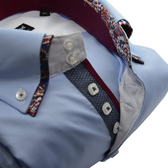 Men's light blue shirt with burgundy paisley double collar upclose