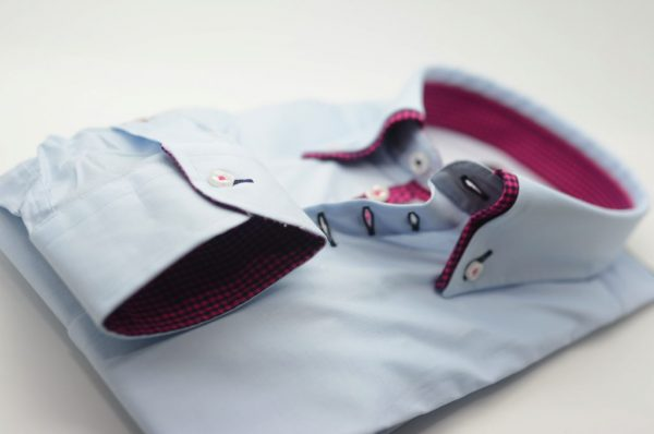 Men's light blue shirt pink and navy double collar cuff