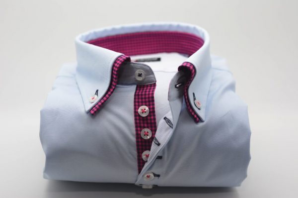 Men's light blue shirt pink and navy double collar front