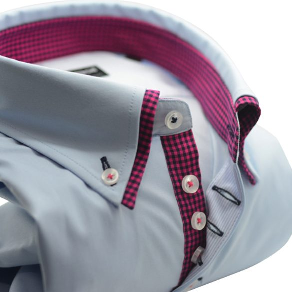 Men's light blue shirt navy and pink double collar upclose